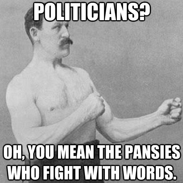 politicians?   oh, you mean the pansies who fight with words. - politicians?   oh, you mean the pansies who fight with words.  Misc