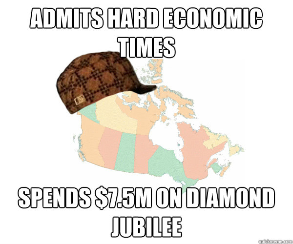 Admits hard economic times Spends $7.5M on Diamond Jubilee