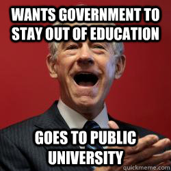 wants government to stay out of education goes to public university
