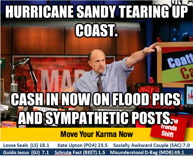 Hurricane Sandy Tearing up Coast. Cash in now on flood pics and sympathetic posts.