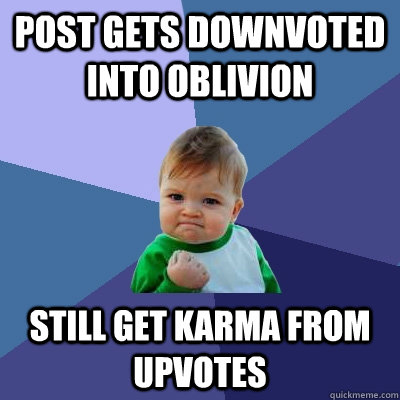 post gets downvoted into oblivion still get karma from upvotes  Success Kid