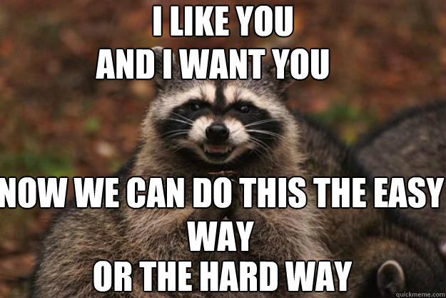802c834db1c3d9cf7d3912c0aa581288a588ec46362f28eecd44a7ed32e600c5 i like you and i want you now we can do this the easy or the hard