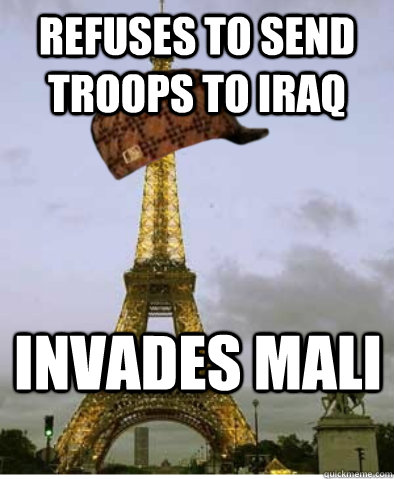 Refuses to send troops to Iraq Invades Mali
