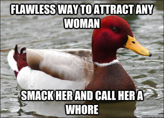 Flawless way to attract any woman Smack her and call her a whore - Flawless way to attract any woman Smack her and call her a whore  Misc