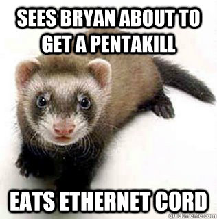 Sees Bryan about to get a pentakill eats ethernet cord