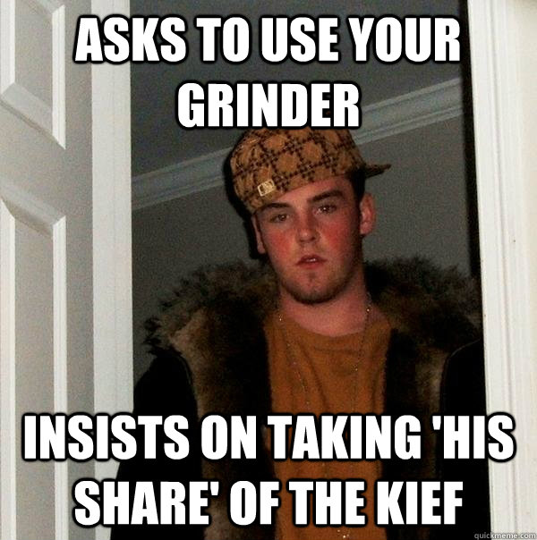 ASKS TO USE YOUR GRINDER INSISTS ON TAKING 'HIS SHARE' OF THE KIEF - ASKS TO USE YOUR GRINDER INSISTS ON TAKING 'HIS SHARE' OF THE KIEF  Scumbag Steve