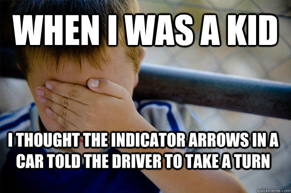 When i was a kid i thought the indicator arrows in a car told the driver to take a turn - When i was a kid i thought the indicator arrows in a car told the driver to take a turn  Confession kid