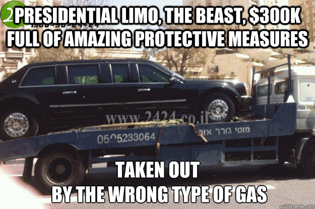 Presidential limo, The Beast, $300k full of amazing protective measures Taken out  by the wrong type of gas - Presidential limo, The Beast, $300k full of amazing protective measures Taken out  by the wrong type of gas  Beast is down