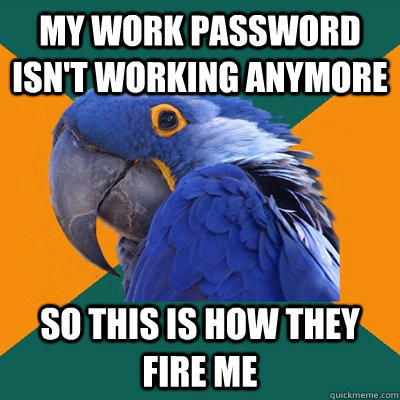 My work password isn't working anymore So This is how they fire me - My work password isn't working anymore So This is how they fire me  Paranoid Parrot