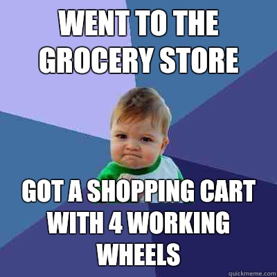 Went to the grocery store Got a shopping cart with 4 working wheels - Went to the grocery store Got a shopping cart with 4 working wheels  Success Kid