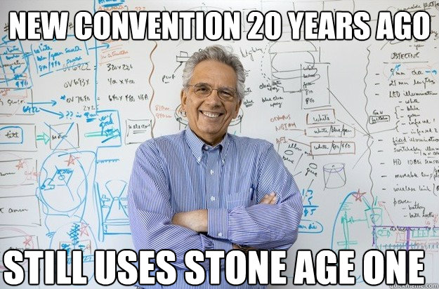 new convention 20 years ago still uses stone age one  Engineering Professor