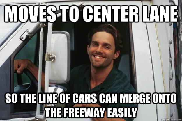 Moves to center lane So the line of cars can merge onto the freeway easily