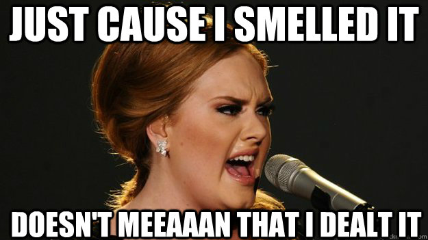 Just cause i smelled it Doesn't meeaaan that i dealt it - Just cause i smelled it Doesn't meeaaan that i dealt it  Angry Advice Adele
