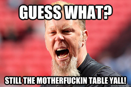 guess what? still the motherfuckin table yall!