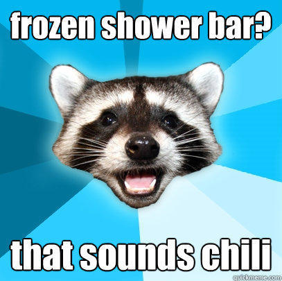 frozen shower bar? that sounds chili - frozen shower bar? that sounds chili  Lame Pun Coon