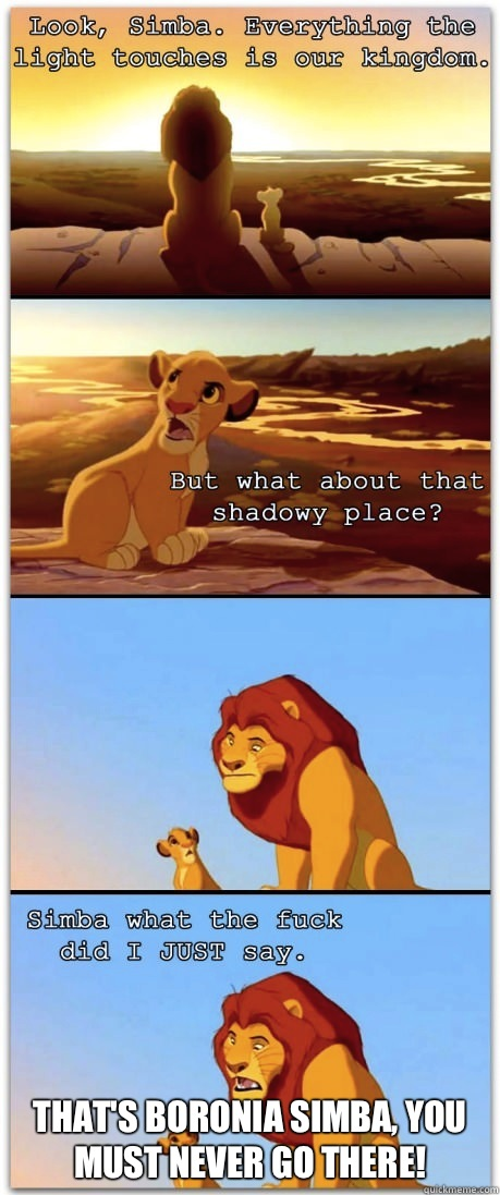That's Boronia Simba, you must never go there!
