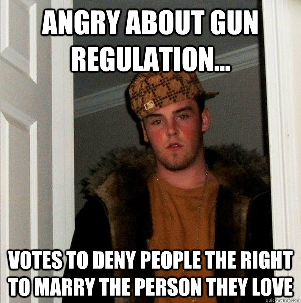 Angry about gun regulation... Votes to deny people the right to marry the person they love - Angry about gun regulation... Votes to deny people the right to marry the person they love  Scumbag Steve
