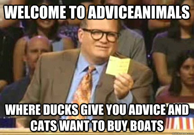 Welcome to AdviceAnimals where ducks give you advice and cats want to buy boats - Welcome to AdviceAnimals where ducks give you advice and cats want to buy boats  Welcome to