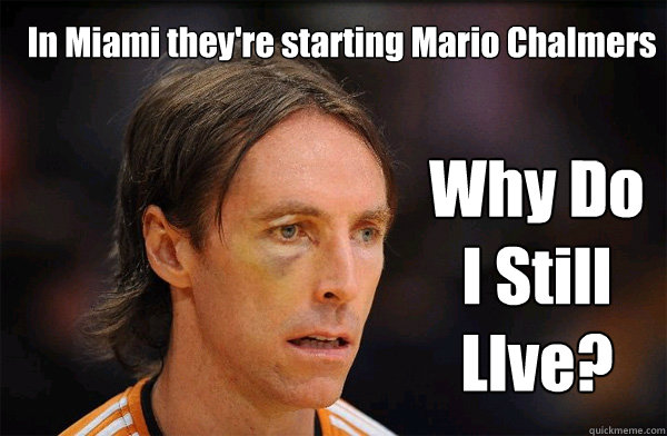 In Miami they're starting Mario Chalmers Why Do I Still LIve?