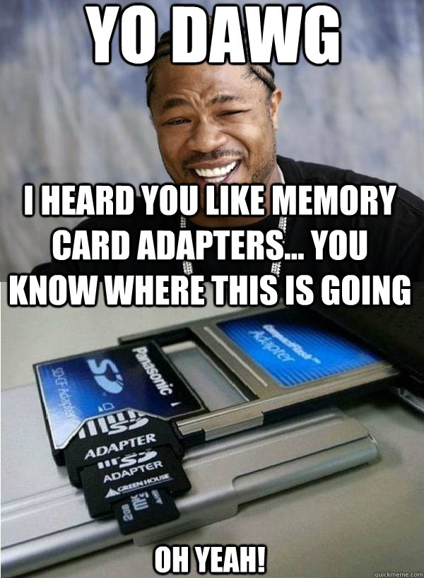 Yo dawg I heard you like memory card adapters... You know where this is going Oh Yeah! - Yo dawg I heard you like memory card adapters... You know where this is going Oh Yeah!  Xzibit