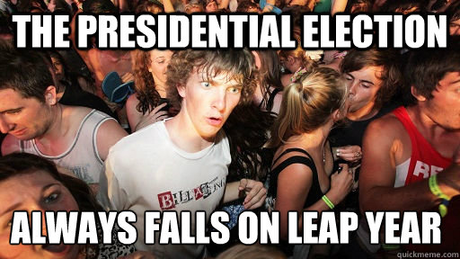 The presidential election always falls on leap year - The presidential election always falls on leap year  Sudden Clarity Clarence