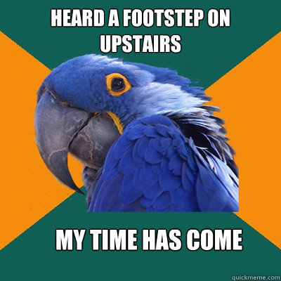 Heard a footstep on upstairs My time has come - Heard a footstep on upstairs My time has come  Paranoid Parrot