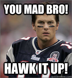 You mad Bro! hawk it up!  tom brady mad