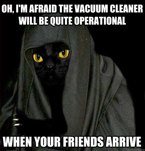 Oh, I'm afraid the vacuum cleaner will be quite operational  When your friends arrive