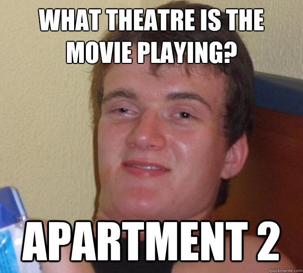 What theatre is the movie playing?  Apartment 2 - What theatre is the movie playing?  Apartment 2  10 Guy
