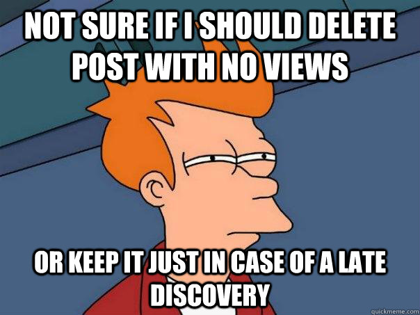 Not sure if I should delete post with no views or keep it just in case of a late discovery - Not sure if I should delete post with no views or keep it just in case of a late discovery  Futurama Fry