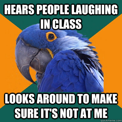 Hears people laughing in class Looks around to make sure it's not at me - Hears people laughing in class Looks around to make sure it's not at me  Paranoid Parrot
