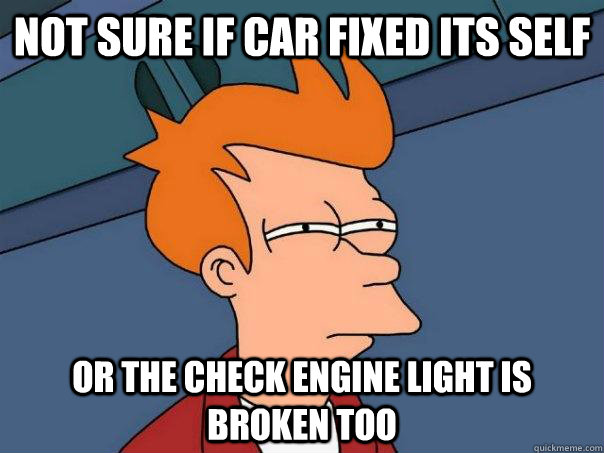 Not sure if car fixed its self or the check engine light is broken too - Not sure if car fixed its self or the check engine light is broken too  Futurama Fry