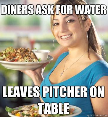 diners ask for water leaves pitcher on table