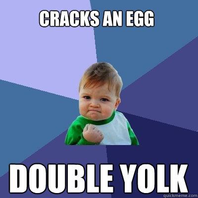 cracks an egg double yolk - cracks an egg double yolk  Success Kid