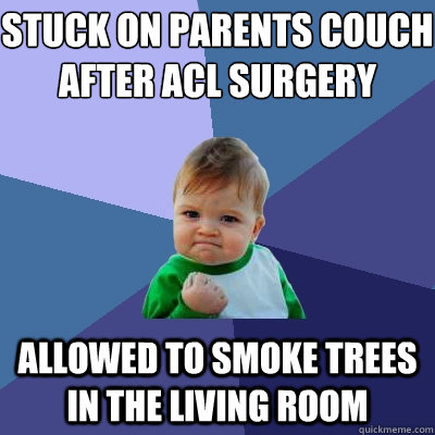 Stuck on parents couch after Acl Surgery Allowed to smoke trees in the living room - Stuck on parents couch after Acl Surgery Allowed to smoke trees in the living room  Success Kid