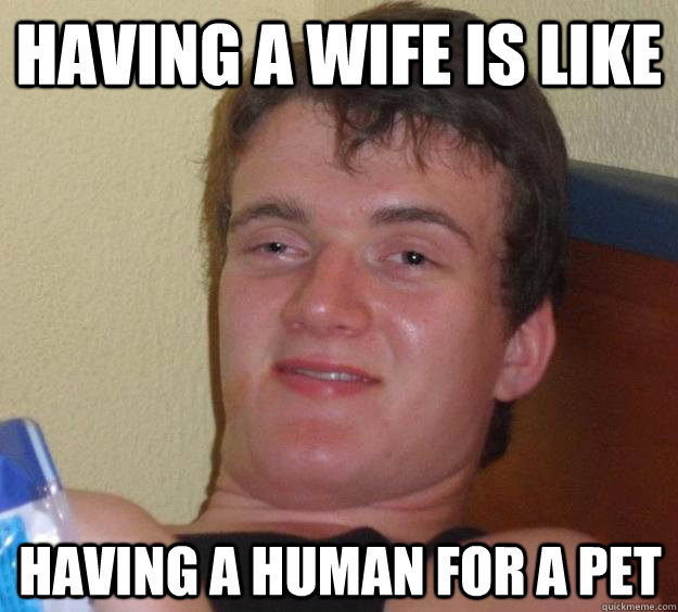 HAving a wife is like  having a human for a pet - HAving a wife is like  having a human for a pet  10 Guy