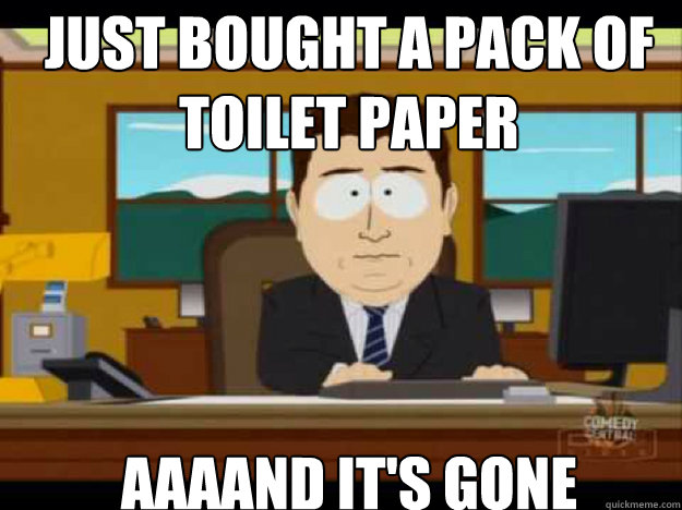Just bought a pack of toilet paper aaaand it's gone