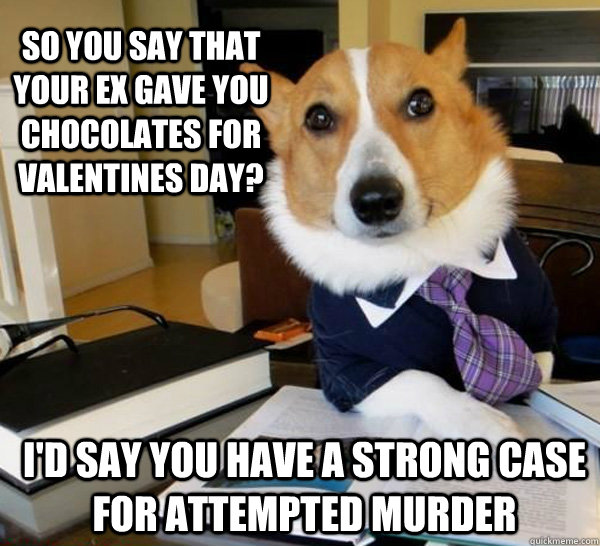 So you say that your ex gave you chocolates for valentines day? I'd say you have a strong case for attempted murder - So you say that your ex gave you chocolates for valentines day? I'd say you have a strong case for attempted murder  Lawyer Dog