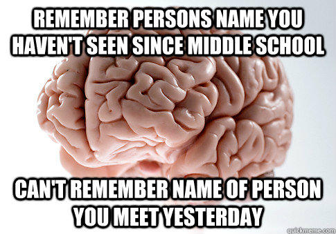 Remember persons name you haven't seen since middle school can't remember name of person you meet yesterday - Remember persons name you haven't seen since middle school can't remember name of person you meet yesterday  Scumbag Brain