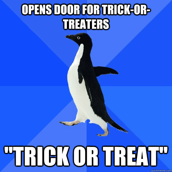 opens door for trick-or-treaters