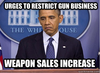 urges to restrict gun business WEapon Sales Increase
