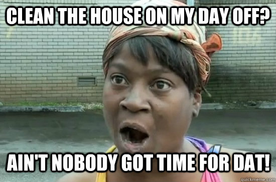 82830ed246f1ede28e4cdbf63c1d72f705f5b7155a51d00237b9cc68b3c20575 clean the house on my day off? ain't nobody got time for dat