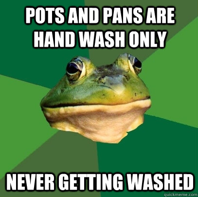 pots and pans are hand wash only never getting washed - pots and pans are hand wash only never getting washed  Foul Bachelor Frog