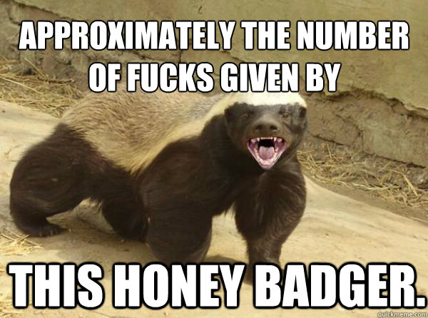 approximately the number of fucks given by This honey badger.  Honey Badger
