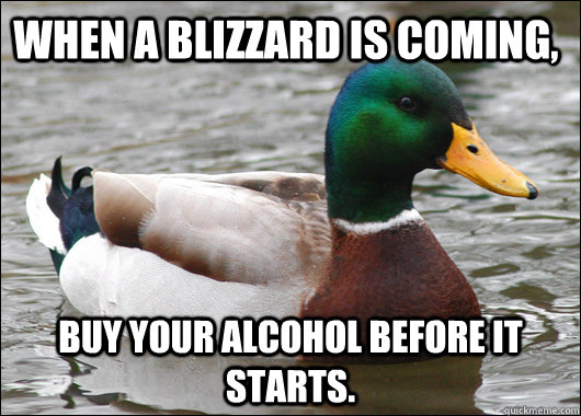 When a blizzard is coming, buy your alcohol before it starts. - When a blizzard is coming, buy your alcohol before it starts.  Actual Advice Mallard