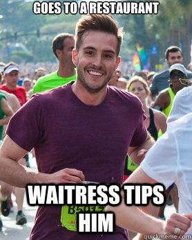 goes to a restaurant waitress tips him - goes to a restaurant waitress tips him  Ridiculously photogenic guy