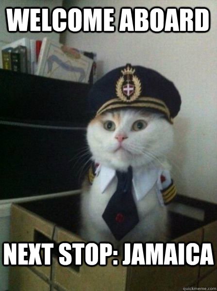 Welcome aboard Next stop: Jamaica - Welcome aboard Next stop: Jamaica  Captain kitteh