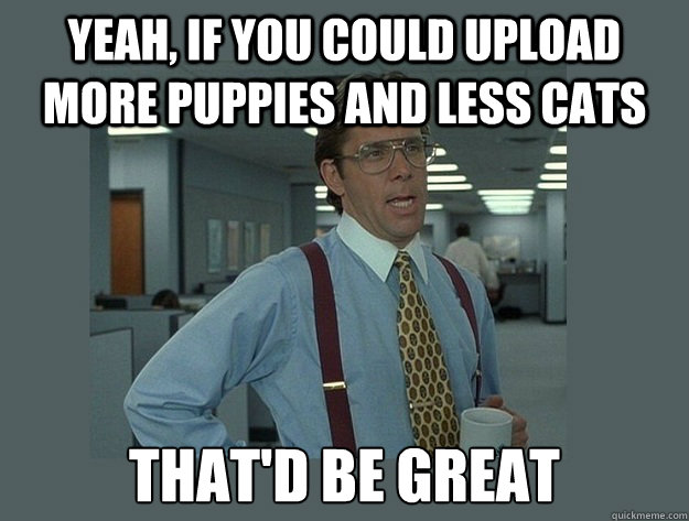 Yeah, if you could upload more puppies and less cats That'd be great - Yeah, if you could upload more puppies and less cats That'd be great  Office Space Lumbergh
