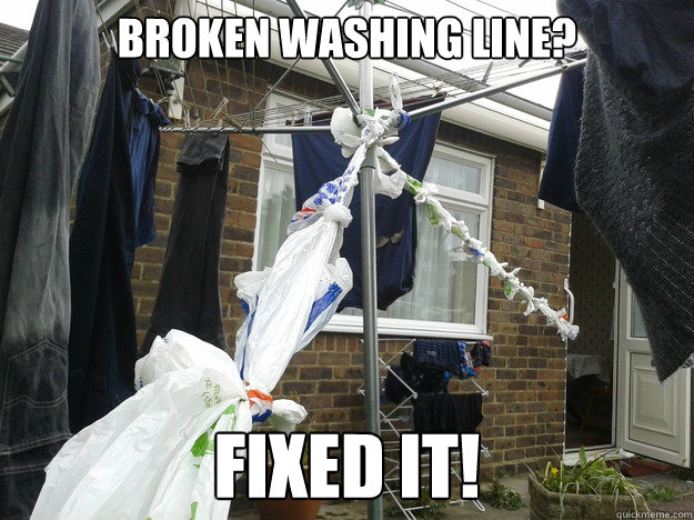 broken washing line? fixed it! - broken washing line? fixed it!  Fix it level Student
