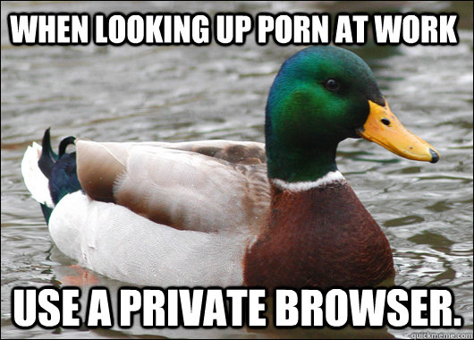 When looking up porn at work Use a private browser. - When looking up porn at work Use a private browser.  Actual Advice Mallard
